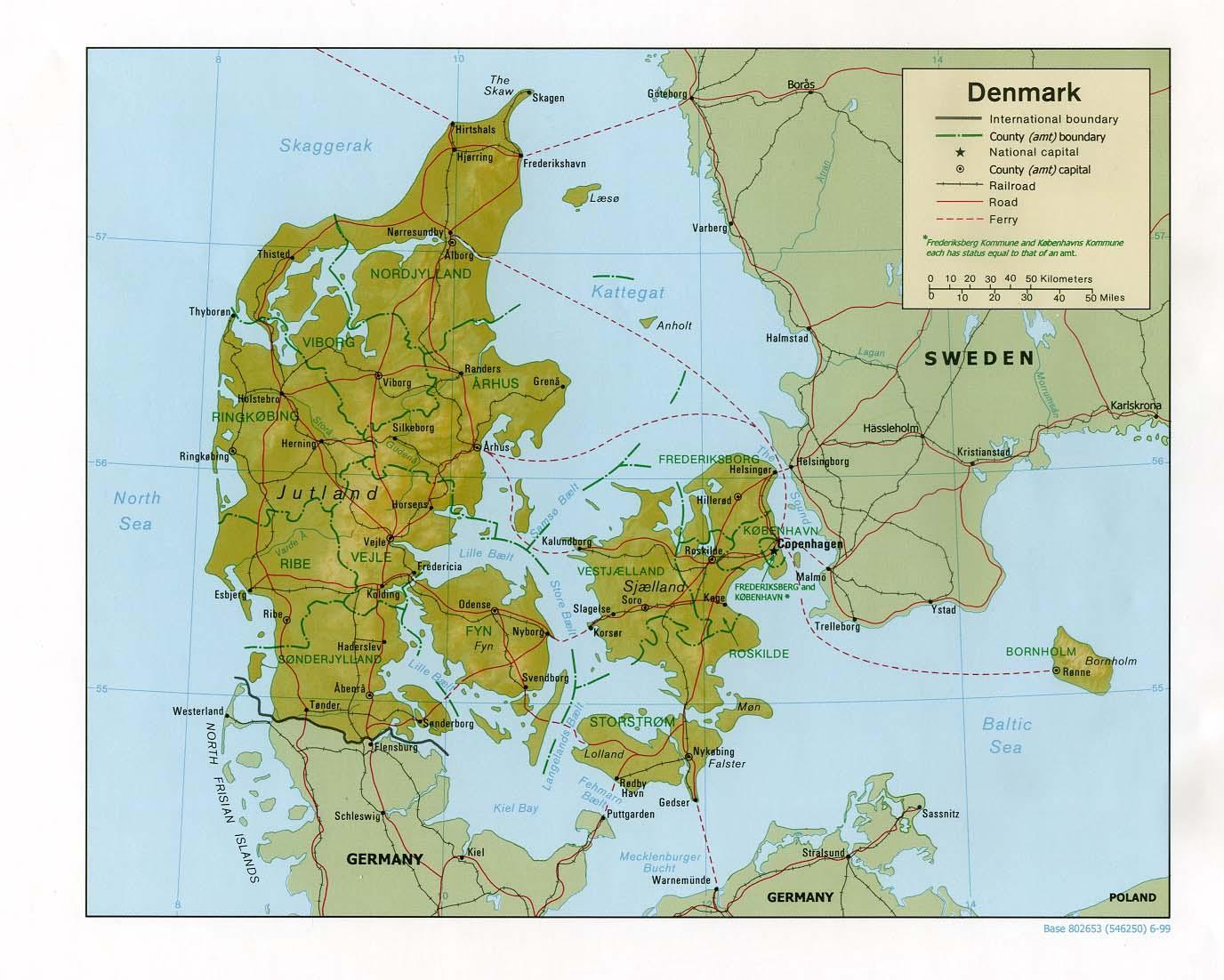 Fyysinen Kartta Tanska Kartta Fyysisen Tanska Pohjois Eurooppa