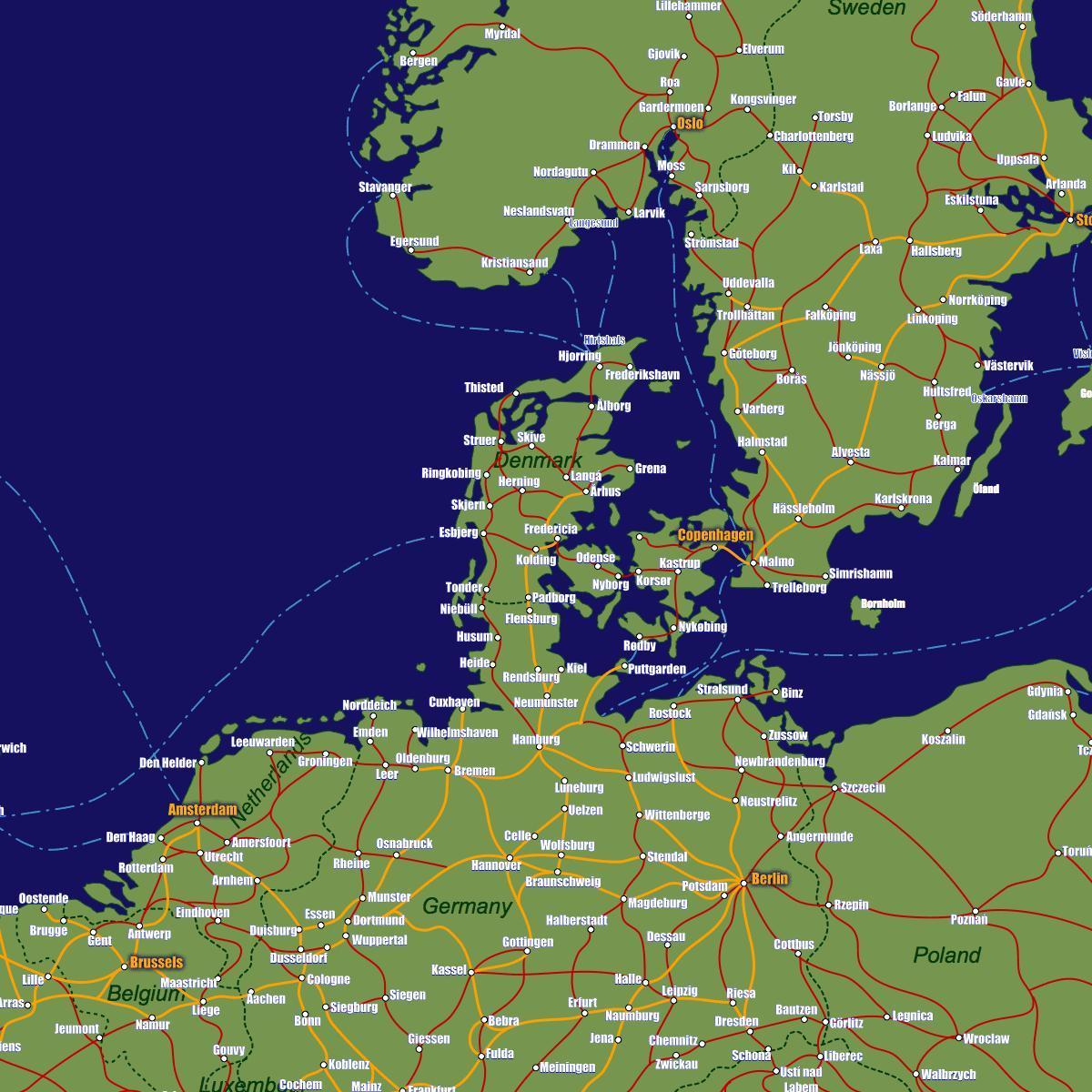 Tanska Juna Kartta Tanska Rail Kartta Pohjois Eurooppa Eurooppa