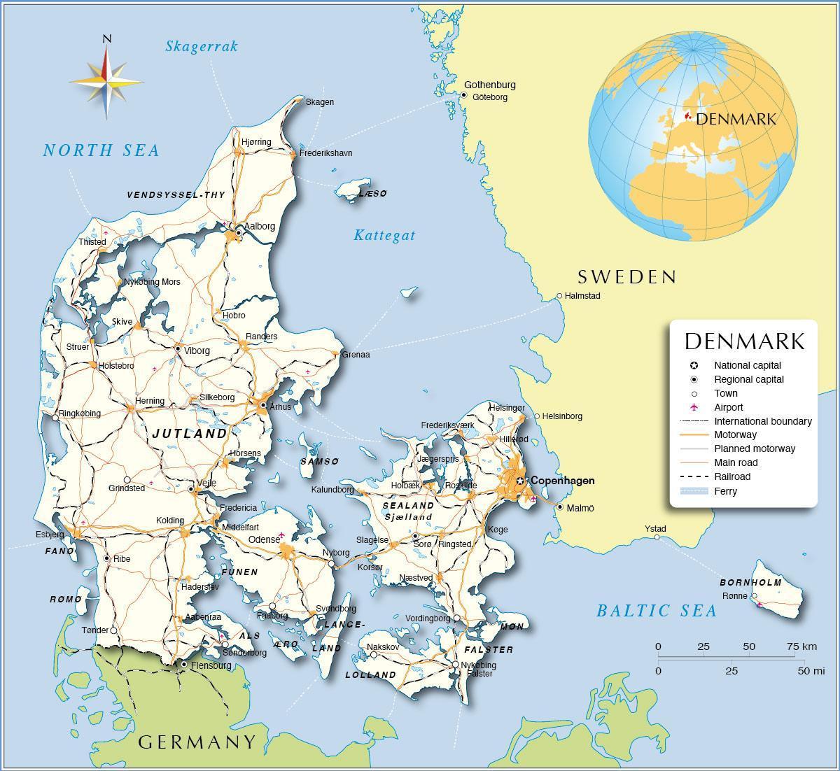 Tanska Kartta Kartta Yli Tanska Pohjois Eurooppa Eurooppa
