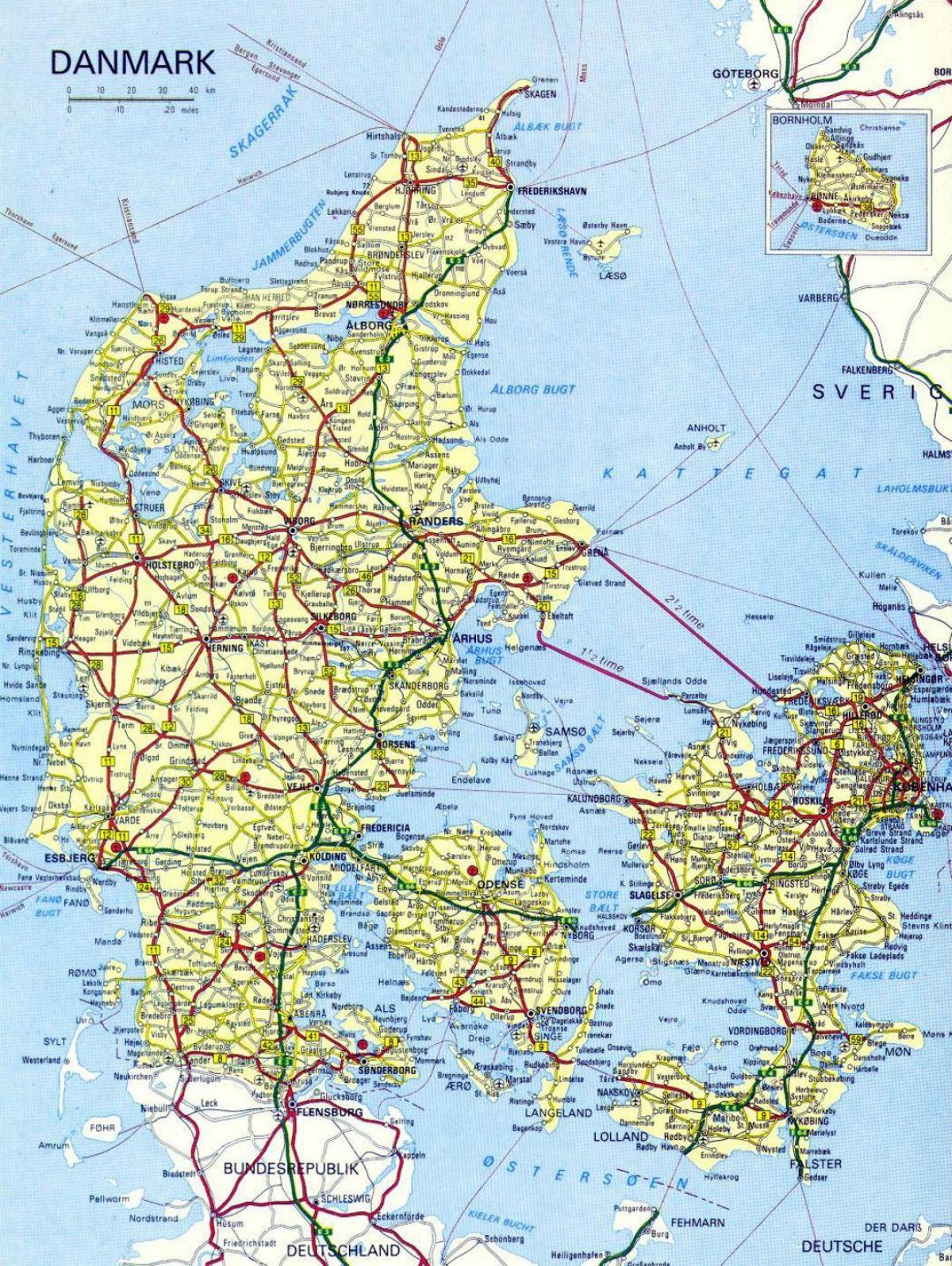 Tanska Kaupunkien Kartta Tanska Kartta Kaupungit Pohjois